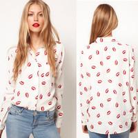 New 2014 Casual Women Stand Collar Button Red Lip Print Chiffon Blouse Long Sleeve Fashion Shirt Tops For Women Girls CY0013