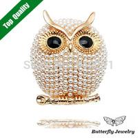 2014 HOT Fashion Animal Brooches Rhinestone Pearl Owl Brooch Pin Women Dress Accessories Jewelry Gifts