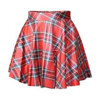 free shipping plaid pleated skirt designer preppy style women skirt 2014 new arrival