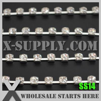 Free Shipping Single Row SS14 Sparse D Claw Garment Rhinestone Chain, 10yards/lot, X11614(China (Mainland))