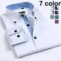 Plus Size Casual Men's Shirts Fashion 2014 Camisa Social Russia Male Shirt Brand Man Shirts XXXL White Man Clothing Long Sleeve