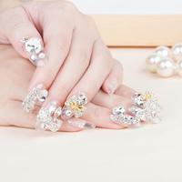 New 2014 Fashion Hot Crystal  Wedding Full Cover Fasles Bridal Nail DIY Derorations Acrylic Nail Art Tips Drop Ship HC09-WD-016