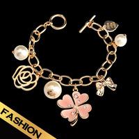 Special Free Shipping Enamel Charm Bracelet Flower Pearl Bracelet SL14A071613
