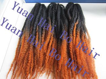 two tone synthetic marley braid x-pression braiding hair free shipping