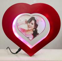 Floating Photo frame LED light Heart Shaped Magnetic Levitation Pictures Frame Free shipping Novelty Gift  Free Shipping