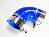 """2 UNIT Silicone 90 degree Elbow Hose ID 76mm to 83mm / 3"""" inch to 3.27' inch  Intercooler pipe + 4 Stainless steel T-clamp"""