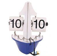 Free Shipping!Brand Metal Shop Truck Boat Flip Clock Retro Art Decorative with pothook HY-F031