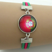 Portugal national flag 2014 New silver bracelet,mens stainless steel bracelet,wedding bracelet crystal,leather rope bracelet
