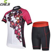 Cool ! 2015 cheji Women's Short Sleeve Cycling Jersey and Shorts Kit Women Cycling Clothing silica gel Size:S-XXXL Free Shipping