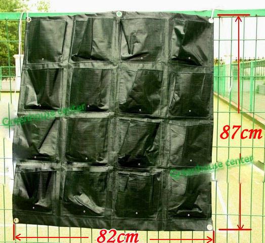 Vertical 16 bolsões verdes quentes Planter Home Living Garden Wall Planters saco de armazenamento de sementes de maconha tapeçaria plantio sacos flor(China (Mainland))