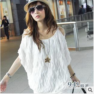Женские блузки и Рубашки Women fashion loose summer tops M0399 women plus size summer blouse