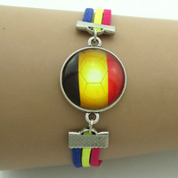 Belgium flag football,mens jewellery,vintage bracelets,bracelet traveler rope,2014 world cup bracelet&bangle,5pcs free shipping