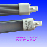Free shipping 20pcs/lot 3W 4w 6w 8W G23 LED PLC  light lamp,2G7 PL LED,plc led lamp CE ROHS 2 years warranty fast delivery