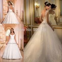 Vestidos de novia Custom Made 2014 Ball Gown plus size wedding dress Backless Lace Appliqued Wedding Dress 2014 Bridal Gown