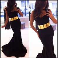 Gossip Prom Gown Elegant Mermaid Satin Black Evening Dress Gold Belt Girls Dresses Free Shipping