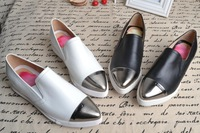 Free Shipping 2014 Brand Designer Metal Head Pointed Toe Loafers Fashion Genuine Leather Flats,Slip-On Women Casual Shoes