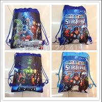 Fashion 2014 The Avengers Kid Drawstring Waterproof Backpack Shopping School Traveling Bag Fabric Print Non-woven Free Shipping