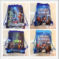 Fashion 2014 The Avengers Kid Drawstring Waterproof Backpack Shopping School Traveling Bag Fabric Print Non-woven Free Shipping