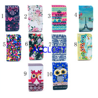 100pcs/lot Owl Flower Heart Case For Motorola X  Flip Wallet Card Holder PU Leather Stand Case  Moto X  Cover Free Shipping