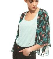 ST1990 New Fashion Ladies' Elegant Floral Print loose kimono like non-button blouse three quarter sleeve Shirt brand design tops
