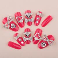 Super Cute Animal Bow Full Cover Wedding Fasles Bridal Nail DIY Derorations Acrylic Nail Art Tips Drop Ship HC09-WD-033