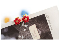Free Shipping fashion small accessories zircon rhinestone stud flower earrings crystal women jewelry wedding gift 6pcs/lot