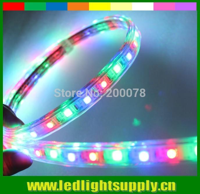 50meter spool~ 220V chasing effect RGB AC LED strip light 5050 smd fita flexible lamps waterproof ribbon rope lightings(China (Mainland))