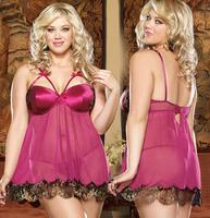 Free Shipping M XL Plus size Lingerie Spaghetti Strap Black Erotic Babydoll Sleepwear Nighty Underwear Sexy Lingerie 3170