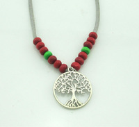 New fashion women necklace nature wood beads with silver tree of life pendant Simple Style Indian