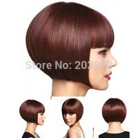 Super Soft Short Bob Burgundy mix Synthetic Hair wig free shipping