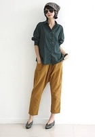 2014 New Arrive Korean Style Solid and Loose Capris Linene Cross Pants with Pockets for Ladies Free Shipping A738-A207#