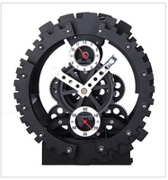 Free Shipping!Brand Art Decorative Exquisite Mechanical Gear Alarm Clock Stainless HY-G040-B