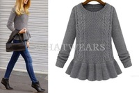 Free Shipping New 2014 Autumn Fashion Womens Retro Crewneck Flouncing Peplum Sweaters Knitwear Pullover [70-7394]