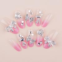 New Super Cute Pink Bow DIY Derorations Full Cover Wedding Fasles Bridal Nail Acrylic Nail Art Tips Drop Ship HC09-WD-040