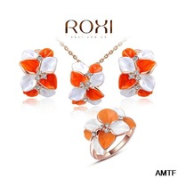 2014 Top Fasion New Women Jewelry Gift Fashion Crytal Flower Snow Zirconset Girlfriend 100% Hand Made Jewelry Earrings+necklace