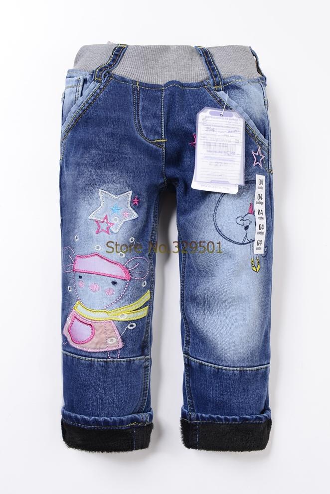spedizione gratuita 2014 inverno jeans dei bambini pantaloni denim addensare jeans ragazze jeans pantaloni di marca per bambini addensare pantaloni jeans bambino al dettaglio