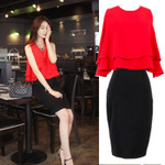 2014 summer women's sexy &fashion   Casual elegant dress two pieces Free shipping