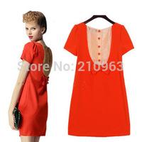 2014 summer women's  Fashion Casual elegant  Bow dress  Free shipping