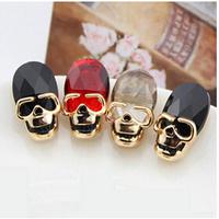 Free Shipping Newest skull Jewelry Hot sale Punk rock crystal skull head ear small earrings skull earrings  6pcs/lot