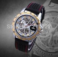 Winner 2014 new Mechanical men gold case skeleton dress wristwatch Rubber Band Steel Case Sports Watch