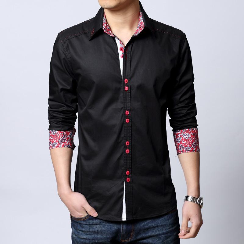 2015 nova moda personalidade botões dos homens vestido de Camisa de alta qualidade cor sólida de mangas compridas casuais Camisa dos homens Camisa sociais(China (Mainland))