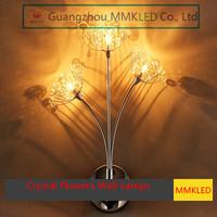 K9 Crystal Flowers Wall Lamps Modern European luxury bedroom  living room wedding Wall lighting G4 110-240V