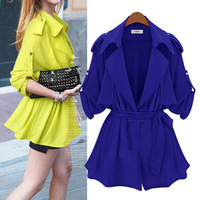 2014 Women Coat Long Trench With Sashes Adjustable Sleeve Jackets Women Coat casacos femininos M,L,XL C47528