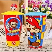 Free shippingWholesale Cartoon Mario Super Mario mug cup ceramic cup large capacity cup with lid