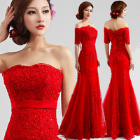 2014 new arrival Long red evening dress slit neckline short sleeve length bandage quality formal dress 9218#