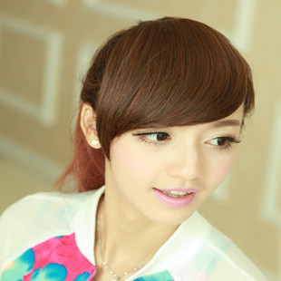 bang hair extension front fringe oblique Girl's One piece hair extensions Fashion Front Bangs/Fringes Clip-in Postage Free ship(China (Mainland))