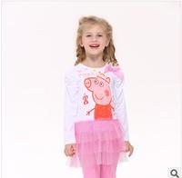 2014 Europe and America autunm cartoon girls pig long sleeve dress girl princess cotton dress 5pcs/lot