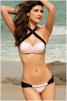 Free shipping 2014 summer new Ladies swimwear  intersect  hanging neck sexy tight high elastic bikini split type swimsuit
