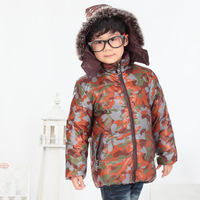 Free Shipping Retail 2014 New winter boy coat camouflage color boys cotton-padded jacket,Kids winter duck down cotton coat 130
