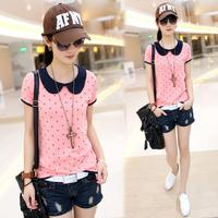 2014 summer women's peter pan collar basic shirt small fresh slim HARAJUKU short-sleeve t-shirt